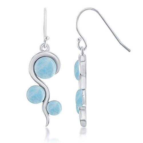 Photo of Sterling Silver Natural Larimar in Swirl Design Dangle Earrings