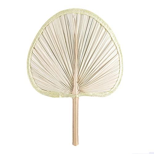 Abanico de hoja de palma hecho a mano, hecho de hoja de palma natural, abanico de mano trenzado para verano, playa, fiesta, boda