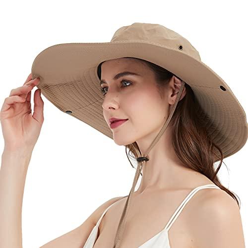 Super Wide Brim Sun Hat-UPF50+ Waterproof Bucket Hat for Fishing, Hiking, Camping (U044 Beige)