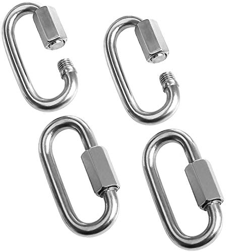 Acrux7 5/16 Inch Quick Link,Heavy Duty Oval Locking Carabiner Clip, 4 Pack Stainless Steel Carabiners, Hexagon Stud Connector & Deep Thread for Outdoor Activities (Hooking Trailer, Swing Set