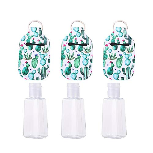OTTF 3 set/6 unids 30 ml botellas recargables/estuches de viaje envases vacíos botellas de plástico/cajas con gancho recargable botellas desinfectantes de mano con gancho