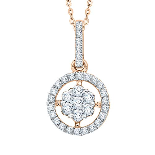 KATARINA - Collar con colgante de diamante en oro de 14 quilates o plata (1/2 quilates, G-H, I2-I3)