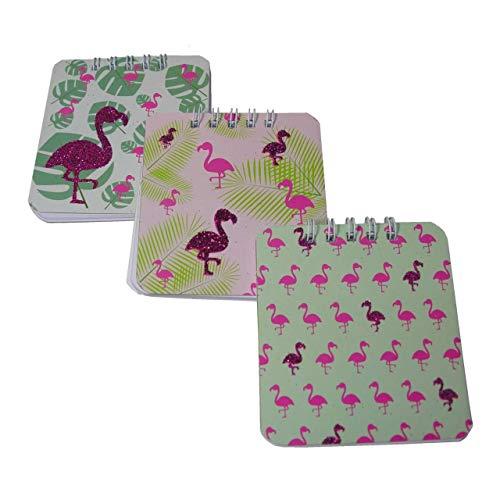Lg-Imports 3 x Bloc-notes Flamingo Paillettes feuilles Bloc-notes Bloc à spirales blanches