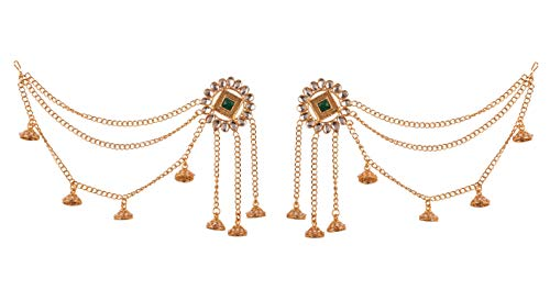 NEW! Touchstone Indian Bollywood Replica Kashmere Style Kundan Look Faux Emerald Designer Jewelry Chandelier Earrings In Gold Tone For Women