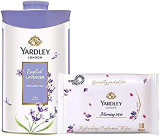 Yardley London English Lavender Perfumed Talc 250g with Yardley London Wet Wipes (10 wipes) Free