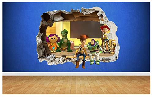 Thorpe Signs TOY STORY SMASHED WALL STICKER 3D STYLE BEDROOM BOYS GIRLS VINYL WALL ART DECAL (Large: 78cm x 58cm)