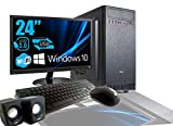 PC DESKTOP INTEL QUAD CORE 2,4GHZ WINDOWS 10 PROFESSIONAL 64 BIT CASE ATX/RAM 8GB/HD 1TB/WIFI/INGRESSI HDMI DVI VGA POWER 500W + MONITOR LG 24' LED VGA TASTIERA E MOUSE USB CASSE AUDIO COMPLETO