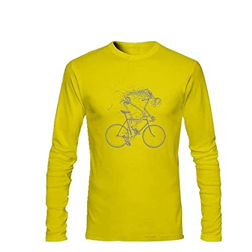 Ciclismo Bicicletta Fantasma Bone Bikes Uomo Cotone Casual Freddo Manica Lunga Giallo XXL