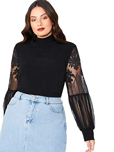 SheIn Women's Mock Neck Sheer Long Sleeve Blouse Tops Black Large Plus