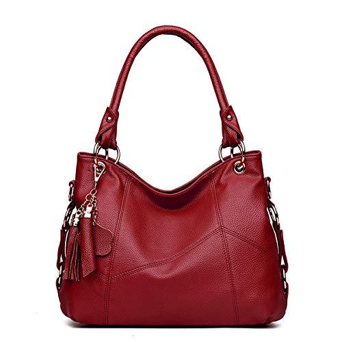 Tisdaini® Bolsos de Mano Mujer Bolsos Bandolera Moda Cuero Suave Bolsos Totes Shoppers y Bolsos de Hombro Vino Rojo