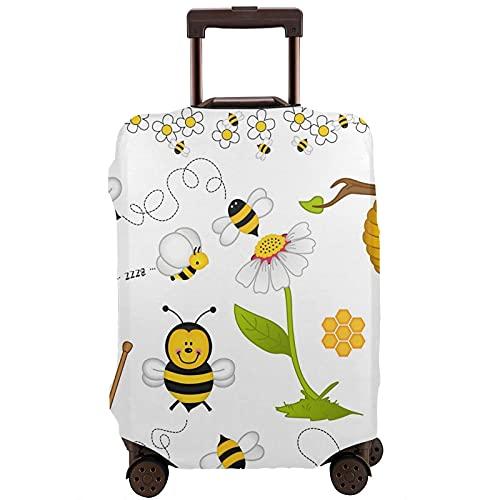 DJNGN Flying Bees Daisy Honey Coprivaligia da viaggio, proteggi valigia da viaggio, copri valigia antigraffio adatto a bagagli da 18-28 pollici