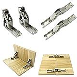 4 Piezas La puerta plegable de 90 grados/la bisagra del estante colgó las piezas de los muebles del tenedor de la tabla del soporte - No requiere ranura - Fácil de instalar Bisagra