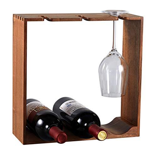 Estante de madera maciza para vino, soporte de almacenamiento para gabinete de licor, estante para encimera de botellas de vino, estante para vino de mesa independiente, tiene capacidad para 3 botel