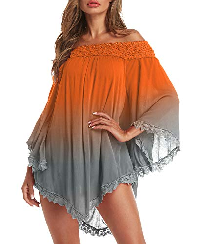 ZANZEA Damen Schulterfrei Langarm Kleid Asymmetrisch Party Bunte Oberteil Mini Kleider 031-orange Large