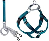 2 Hounds Design Freedom No Pull Dog Harness | Adjustable Gentle Comfortable Control for Easy Dog Walking |for Small Medium and Large Dogs | Made in USA | Leash Included | 1' MD Teal