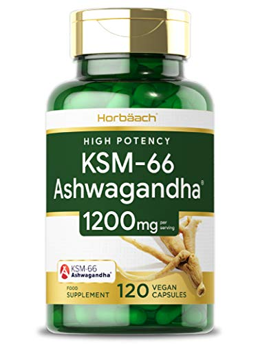Organic Ashwagandha 1200mg KSM-66 | 120 Vegan Capsules | High Strength Root Extract | Non-GMO, Gluten Free Supplement