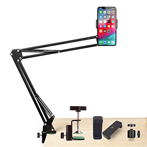 Price comparison product image Overhead Cell Phone Holder Suspension Boom Scissor Arm Stand Articulating Arm Table Mounting Clamp Pop with 2 Phone Clips for Phone Photography Selfie, Live Stream, Photo Video Shooting