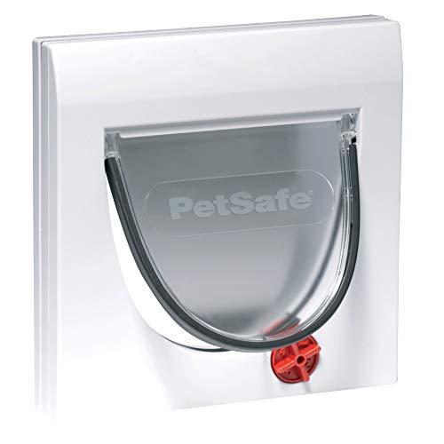 PetSafe Staywell Klassische Katzenklappe, 4 manuelle Verschluss-Optionen, Für Holz, Glas, PVC, Ziegelwände mehr als 5 cm dick, Ohne Tunnel, Tunnel seperat erhältlich, Katzen bis 7 kg, weiß
