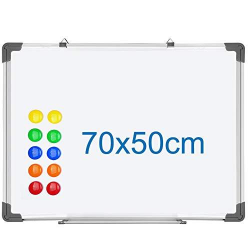SIENOC Whiteboard Magnetwand mit Alurahmen Magnetisch Whiteboard und Magnettafel Weiß lackiert (1 Stück 70 * 50 cm)