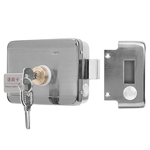 Cerradura de puerta eléctrica, tarjeta de identificación y puerta abierta con llave, sistema de control de acceso de acero inoxidable, control remoto, con alarma anti-palanca, cerraduras automáticas
