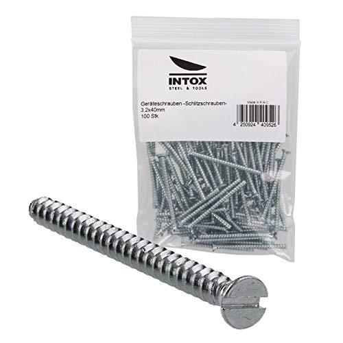 INTOX Geräteschrauben für Schalterdosen 3,2x40mm im Beutel 100 Stück Schlitz mit Senkkopf, verzinkt