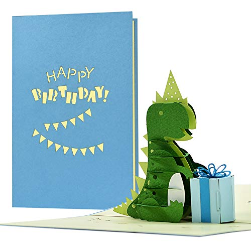 Geburtstagskarte Dinosaurier I Glückwunschkarte mit Dinosaurier Kindergeburtstag | Karte mit Pop up 3D Dino | Grußkarte, Glückwunschkarte oder Gutschein, G26