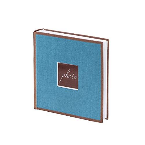 Unbekannt Artebene Fotoalbum mit Leinen Einband, Petrol Blau, Braun, 23 x 23 cm, hochwertig