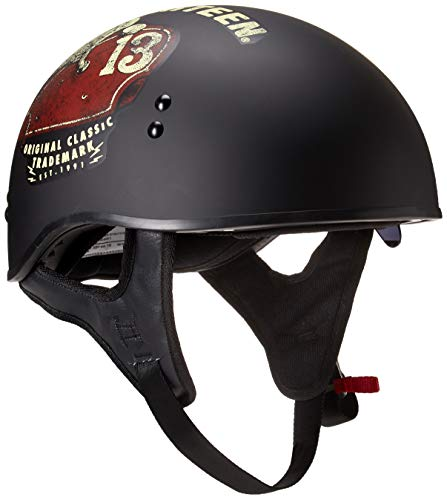 TORC T55 Spec-Op Half Helmet with 'Lucky 13 Tank' Graphic (Flat Black, Large)