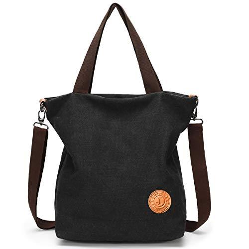 JANSBEN Damen Canvas Handtasche Schultertasche Strandtasche Casual Multifunktionale Umhängetaschen Groß für Arbeit Schule Shopper Lässige täglich (Schwarz)