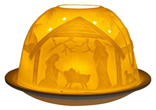 Himmlische Düfte Geschenkartikel GmbH Krippe Windlicht, Porzellan, Weiss, 12x12x8 cm