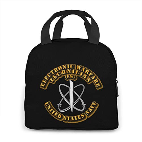 Navy - Rate - Electronic Warfare Technician Portable Insulated Lunch Bag Waterproof Tote Bento Bag Lunch Tote