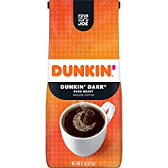Contains 1 - 11 ounce bag of ground coffee This blend features a bold, rich taste with the signature smoothness you'd expect from Dunkin' Coffee A unique dark roast coffee, specially blended and roasted to deliver the same great taste as the brewed D...