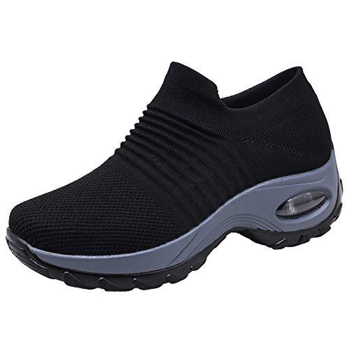 Zapatos Deporte Mujer Zapatillas Deportivas Correr Gimnasio Casual Zapatos para Caminar Mesh Running Transpirable Aumentar Más Altos Sneakers Negro Gris Morado Rojo 35-44 Negro 40