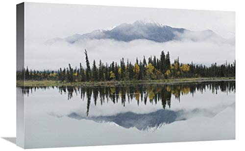 Global Gallery Alaska Range reflejado en Slana Slough en otoño, Alaska Canvas...