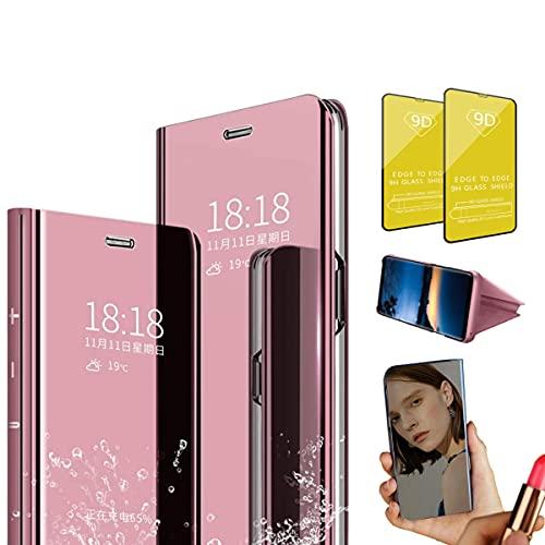 Jtailhne Compatible con Funda Huawei P10, PU PC TranslúCido Flip Espejo Carcasa Ver Fecha/Hora, Despertar Inteligente, Plegable Soporte Case Oro Rosa+2X Cristal Templados