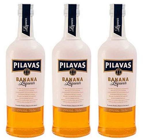 3x 700ml Pilavas Likör Banane 25% 2,1L griechischer Bananenlikör Liqueur Aperitif süßer Schnaps Absacker + Probiersachet 10ml Olivenöl