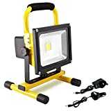 Dersoy 30W 2400LM LED Work Light Rechargeable, Battery Work Lights, Portable Flood Light Security Lights Built-in Li-ion Batteries with Balance Stand for Outdoor Lighting/Camping/Hiking/Car Repairing