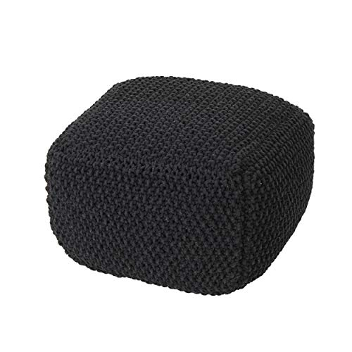 Christopher Knight Home 304449 Joyce Knitted Cotton Square Pouf