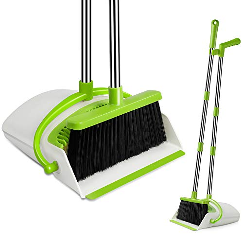 UDAODFA Premium Long Handle Broom and Dustpan Set, Self-Cleaning Broom Bristles Ideal for Kitchen, Home and Lobby Broom and Dustpan Combo (White&Green)