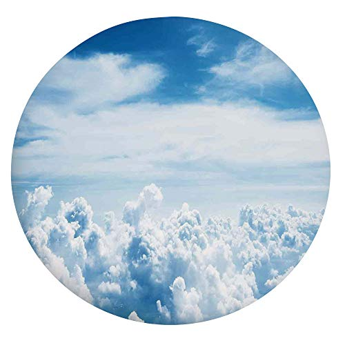 Mantel ajustable de poliéster con bordes elásticos, para mesas redondas de 142 a 152 cm, para eventos interiores y exteriores, color azul y blanco