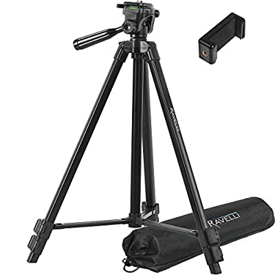 Ravelli Lightweight Aluminum Tripod, Includes Carry Bag and Universal Smartphone Mount
