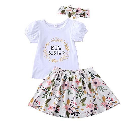 Bebé Niñas Hermana Grande/Pequeña Ropa A Juego Pantalones de Mameluco de Manga Corta Conjunto de Falda con Pantalón Estampado Floral (Big Sister, 2-3 Y)