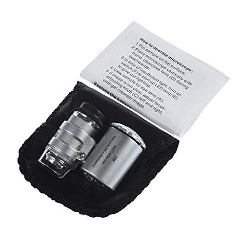 ManalaSa Plata 60X zumbido LED Lente Micro del microscopio Nueva Plata portátil microscopio monocular
