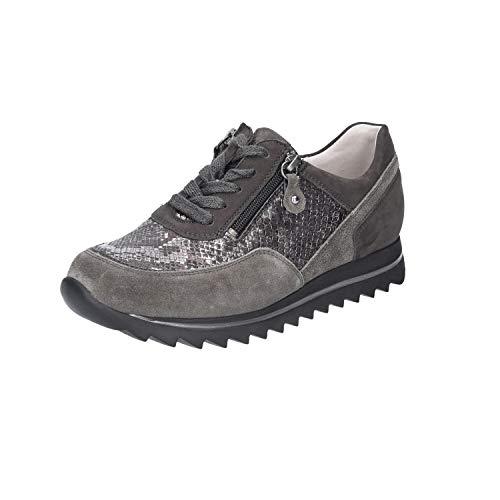Waldläufer Damen Haiba Sneaker klassischer Schnürhalbschuh Größe 39 EU Grau (grau)