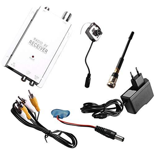 WOVELOT Kit de CáMara InaláMbrica 1.2G Receptor AV de Radio con Fuente de AlimentacióN Vigilancia Seguridad para el Hogar (Enchufe de la UE)
