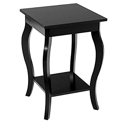 "End Table 16"" W/Storage & Shelf Curved Legs Home Furniture for Living Room Accent Sofa Side Table Nightstand"