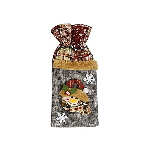 CRGANGZY - Funda para Botella de Vino navideña a Cuadros, suéter Hecho a Mano, Bolsas para Botellas de Vino para Navidad, Bodas, Viajes, cumpleaños, Fiestas navideñas (muñeco de Nieve)