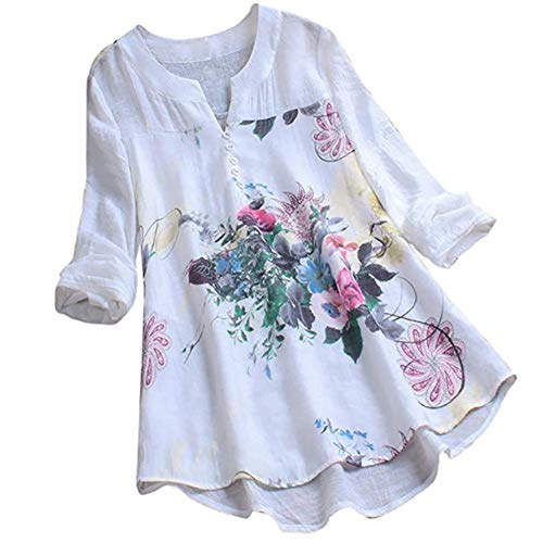 YXXSJB Blouse Women Blouse Women Summer Casual Top Floral Pattern Retro Loose Fashion Casual Shirt New 2020 Women Summer Casual Tops with Buttons A-White XL