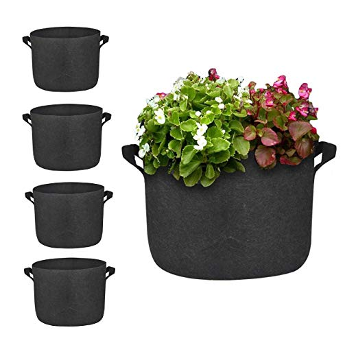 Gioyonil 1 Gallon Plant Grow Bags: Pack of 5 Heavy Duty Thickened Non-Woven Aeration Fabric Pots Vegetable Flower Fruit Grow Bags with Strap Handles