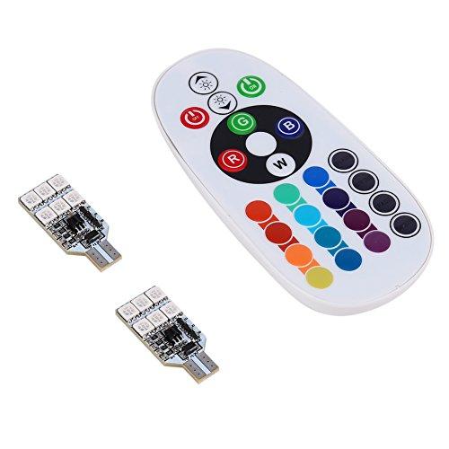 Paquete de 2 Bombillas LED T10 RGB con Control Remoto W5W Strobe 5050 Luces de cuña de Lectura, 194168 2825 Luz estroboscópica 16 Colores, Repuesto para Interior de Coche/Mapa/Cúpula/Puerta/Lu